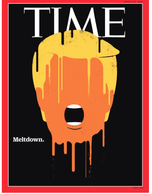 I can no longer bear to read news about the unspeakable man, or the horror show of American politics. (I don't recommend any of us who need not do, for sanity's sake.) But, my gawd, look at Time's cover this week. It says all, about the former democracy and its grotesque politician both. Maybe America's remaining good is as an object lesson, for those places where democracy still has promise. Its melt down shows us why civility, intelligence, education, respect and tolerance for other opinions matter.
