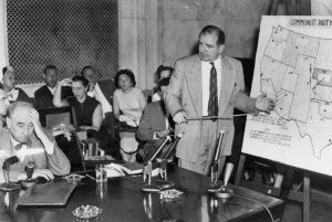 """At long last, have you left no sense of decency?"" -- Joseph Nye Welch, chief counsel for the US Army, to Senator Joseph McCarthy, in 1954 at the Army-McCarthy hearings. The quote and the confrontation is seen as a turning point in the history of McCarthyism. Photo: United States Senate, public domain, via WikipediaBy United States Senate - http://www.senate.gov/artandhistory/history/resources/graphic/xlarge/Welch_McCarthy.jpg, Public Domain, https://commons.wikimedia.org/w/index.php?curid=27839902"