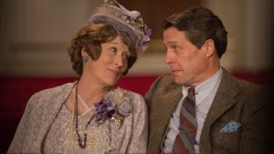 Meryl Streep and Hugh Grant star in Florence Foster Jenkins, a 2016 British-French biographical comedy-drama film, directed by Stephen Frears and written by Nicholas Martin. It debuted last spring in Britain, and opened in August in the U.S. Publicity photo
