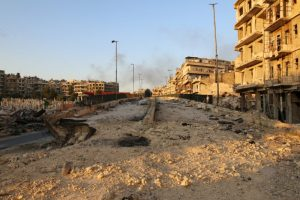 A damaged road is pictured in the rebel held al-Shaar neighbourhood of Aleppo, Syria October 6, 2016. REUTERS/Abdalrhman Ismail