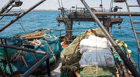 Illegal trawl nets were found aboard Greko 1. Photo supplied by FISH-i Africa