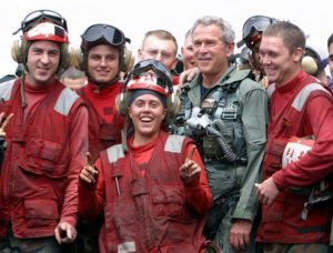 White House PR photo of then-president of George W. Bush putting a positive spin on Iraq.