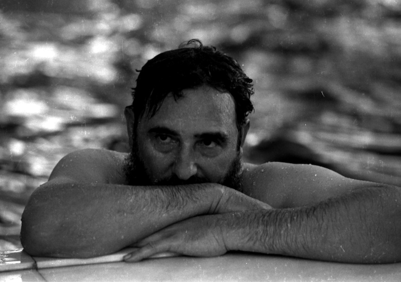 Fidel Castro relaxes in a swimming pool during a visit to Romania, May 28, 1972. REUTERS/Prensa Latina