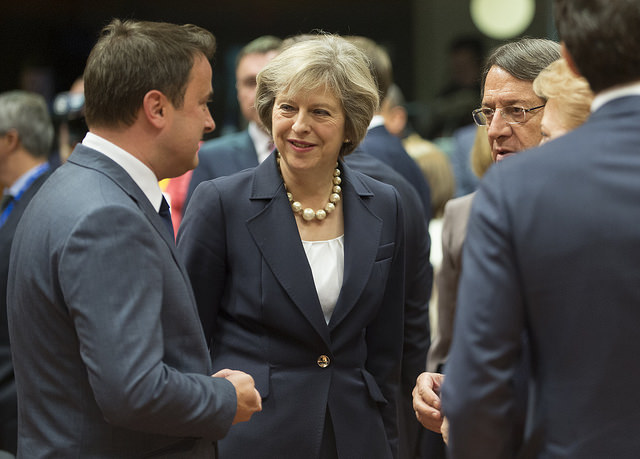 British Prime Minister Theresa May at a European Council meeting in Brussels in October, with Prime Minister of Luxembourg Xavier Bettel, left. Photo by prime minister's office.
