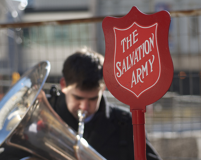 A Salvation Army band plays in front of Union Station in Toronto in 2011, raising money for the Red Kettle fund. Photo by Jamie McCaffrey/Flickr/Creative Commons