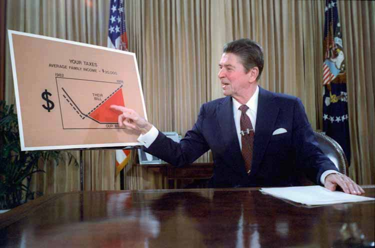 Ronald Reagan's televised address from the Oval Office, outlining a tax reduction plan in 1981. Photo: White House