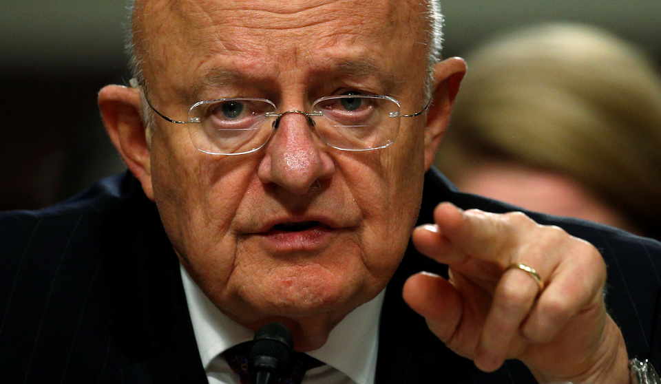Director of National Intelligence James Clapper testifies before a Senate Armed Services Committee hearing on foreign cyber threats, on Capitol Hill in Washington. REUTERS/Kevin Lamarque