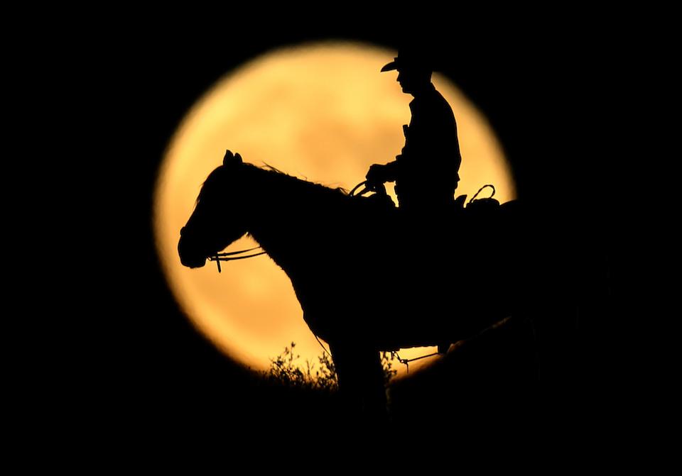 A full moon rises behind U.S. Border Patrol agent Josh Gehrich as he sits atop a hill while on patrol near Jacumba, California, U.S., November 14, 2016. REUTERS/Mike Blake