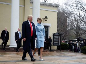 President-elect Donald Trump and his wife Melania depart from services at St. John's Church during his inauguration in Washington, U.S., January 20, 2017.      REUTERS/Joshua Roberts