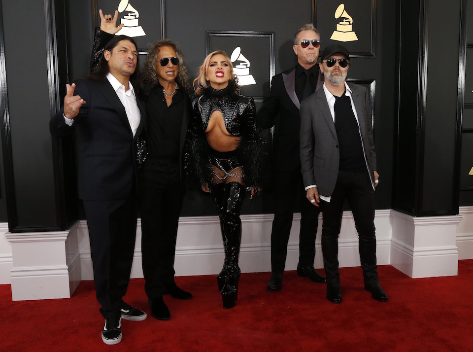 The group Metallica and Lady Gaga arrive at the 59th Annual Grammy Awards in Los Angeles, California, U.S. , February 12, 2017. REUTERS/Mario Anzuoni