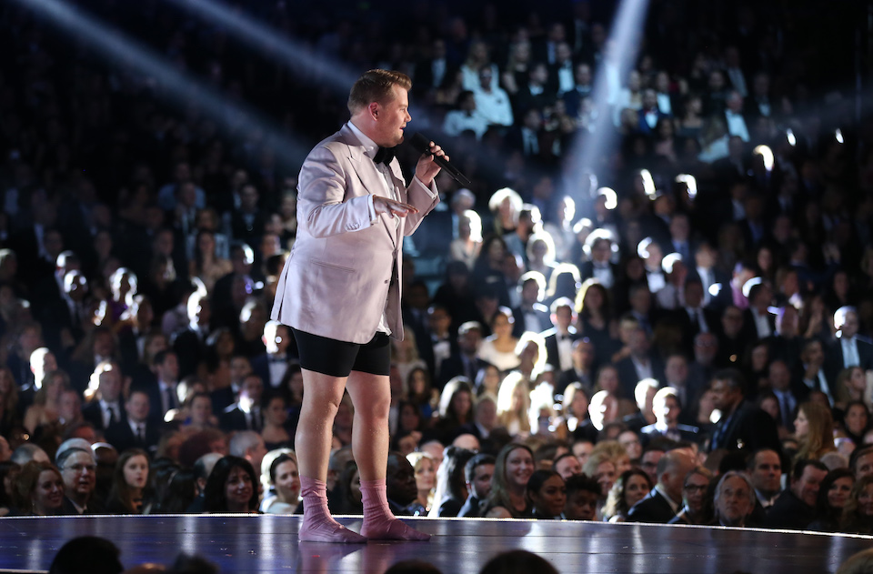 Show host James Corden speaks onstage. REUTERS/Lucy Nicholson