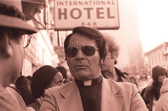 Jim Jones at a protest at the International Hotel in San Francisco, in 1977. Photo: Nancy Wong, Creative Commons, Wikipedia