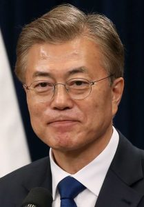 Moon Jae-in, 19th President of Republic of Korea, holds his first press conference on May 10. Photo: Korean Culture and Information Service, Jeon Han, public domain