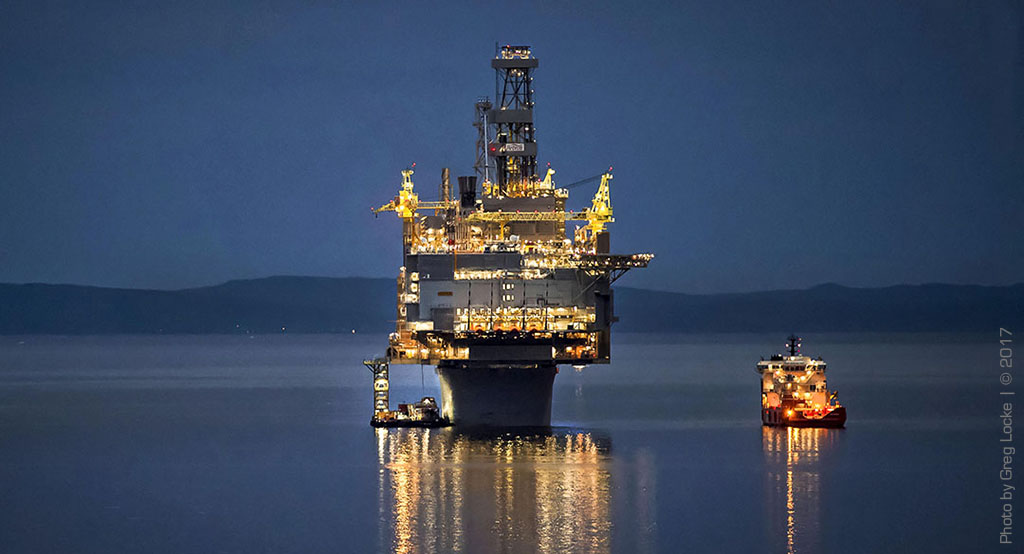 The Hebron offshore oil production platform awaits tow out to the Grand Banks of Newfoundland. Photo by Greg Locke © 2017 -www.greglocke.com