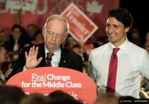 Liberal leader Trudeau attends a rally with former Prime Minister Chretien in Hamilton