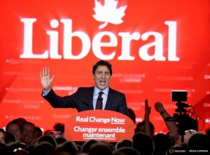Liberal Party leader Justin Trudeau gives his victory speech after Canada's federal election in Montreal