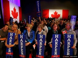 Conservative Party supporters react as they watch results of Canada's federal election in Calgary