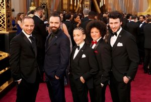 Cast of best live action short Oscar nominee Shok, arrive at the 88th Academy Awards in Hollywood