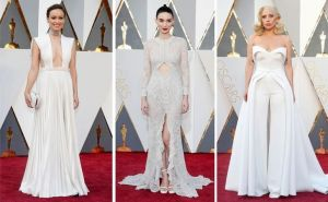 Olivia Wilde, Rooney Mara, and Lady Gaga pose on the red carpet in this combination photo before the 2016 Academy Awards in Hollywood