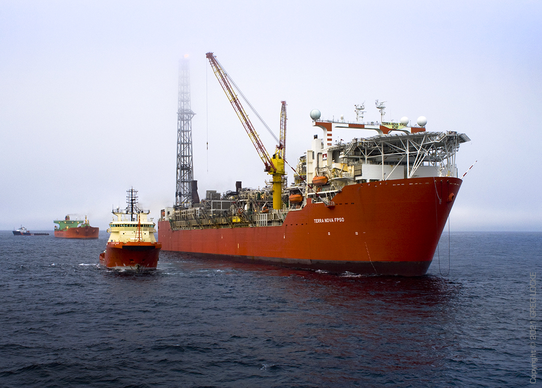 Terra Nova FPSO offshore oil production platform and supply ships at well 350km south east of St John's. Photo by Greg Locke © 2009 Copyright.